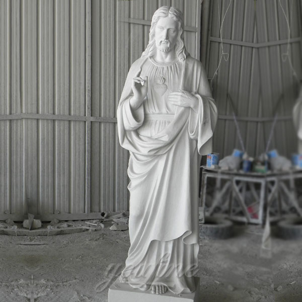 CHS-04 Sacred heart white marble catholic garden statue of christ Jesus store