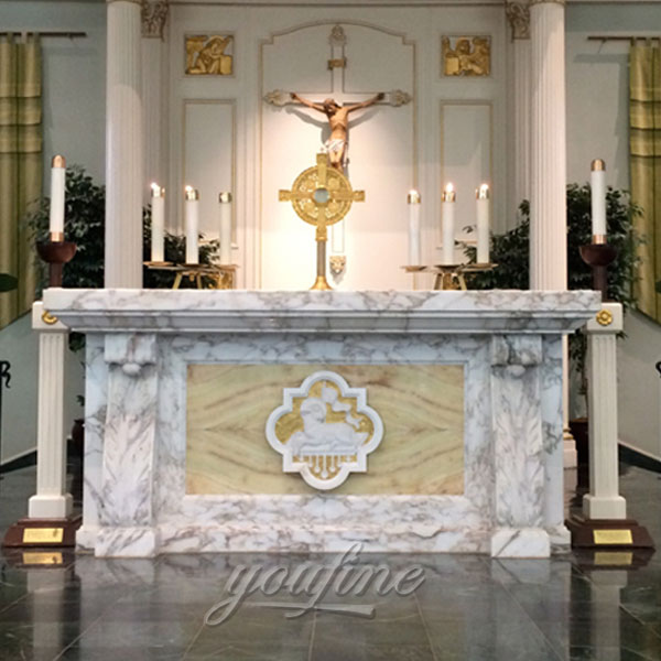 Catholic Hand Carved Marble Christian Altar with Victorious Lamb symbol
