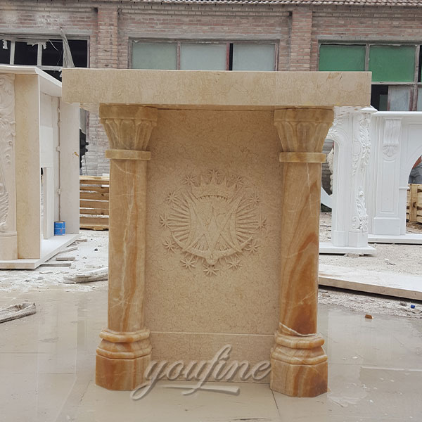 Hand Carved Beige Marble Catholic Church Podium for sale