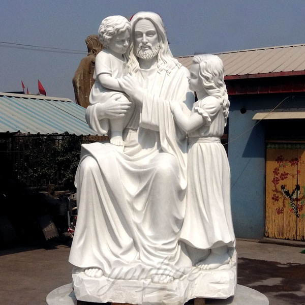 CHS-296 Catholic outdoor garden decor marble big jesus with children statues for church yard decor