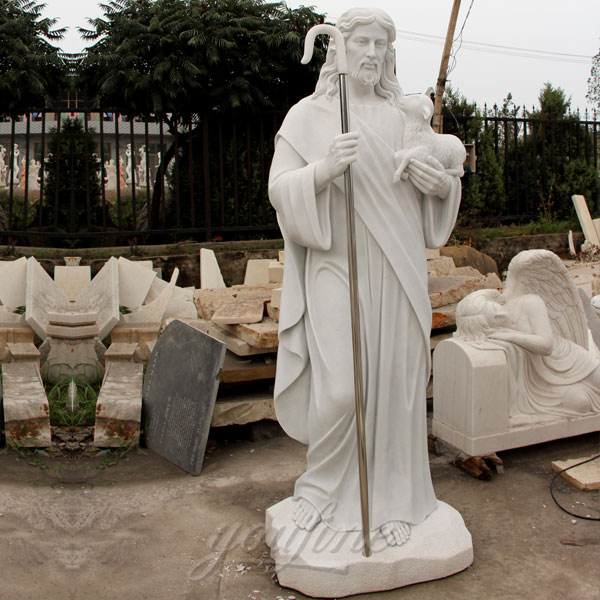 CHS-164 Large Outdoor Catholic Statues of Tall shepherd Jesus Hold Lamb Statues for Garden Decor