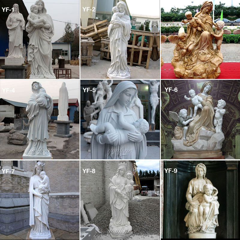 Mary hold little jesus statues
