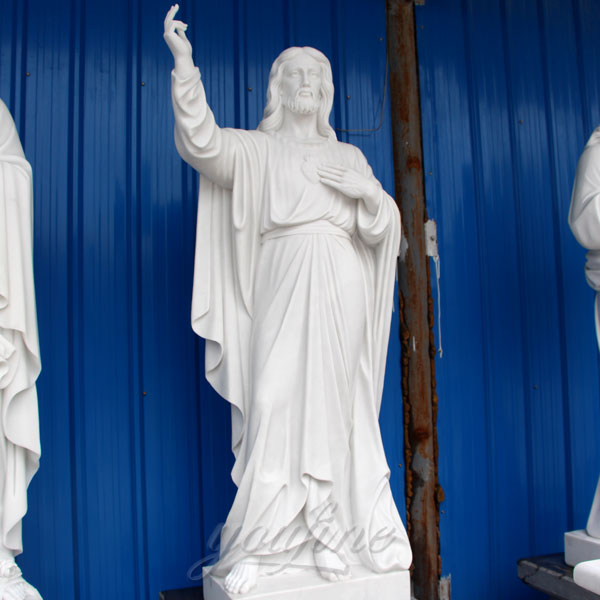 CHS-300 Purchase Cheap Stone White Marble Catholic Sacred Heart of Jesus Statue for Home Yard