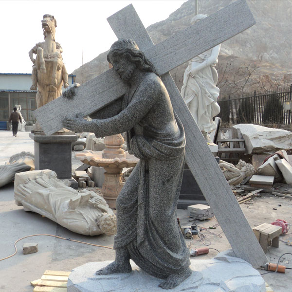 CHS-302 Catholic Garden Marble Statue of Jesus Back Cross Decoration