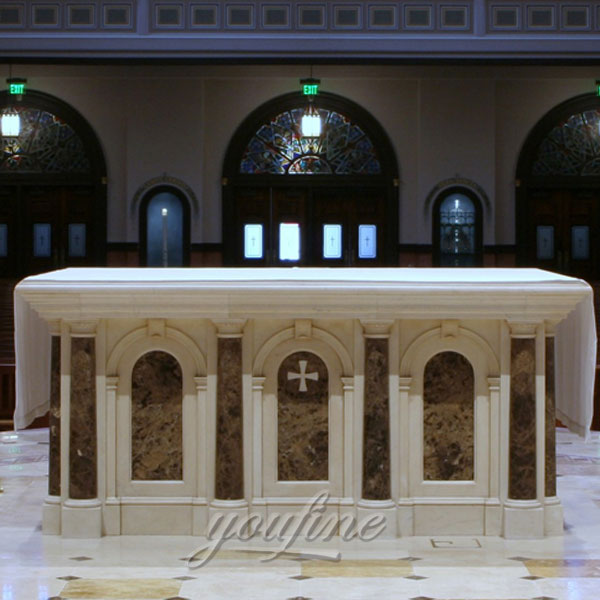 Luxury Indoor Hand Carved Marble Altar Stand designs for Sale