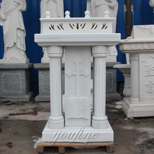 White Natural Marble Catholic Church Furniture lectern stand for Sale