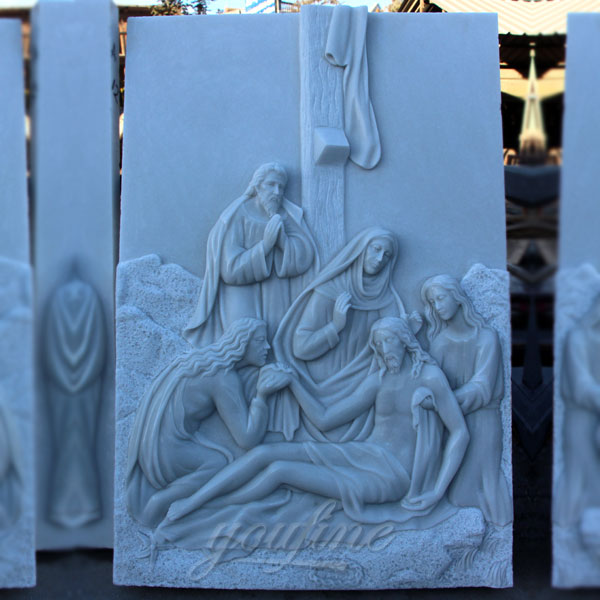 Marble stations of the cross catholic relief sculptures for sale