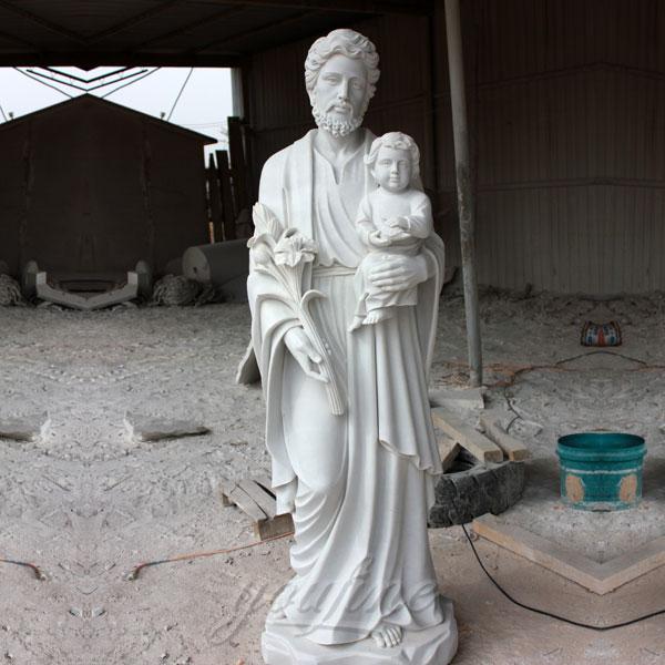 Catholic marble church statues of St. Joseph with baby jesus for sale